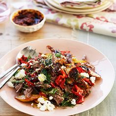 Slow-roast lamb with feta, peppers and dill - Sainsbury's Magazine