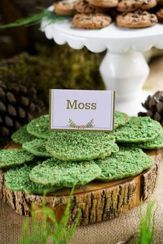 Moss Cookies from a Boho Enchanted Forest Birthday Party via Kara's Party Ideas | KarasPartyIdeas.com (6)