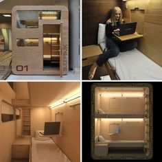 The Sleepbox, designed by Russian architecture firm, Arch Group, is a halfway point between a Japanese capsule room and a small hotel room