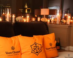 Veuve Cliquot--need these pillows! 31st Birthday, Birthday Brunch, Veuve Cliquot, Hot Tub Gazebo, Pop Up Bar, Champagne Party, Wine Packaging, Prosecco, Event Decor