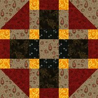 "Free Quilt Block Patterns: 12-1/2"" Tic Tac Toe Quit Block Pattern"