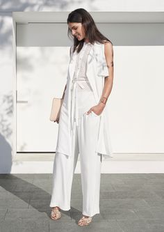 Featuring Sleeveless Trench, Broderie Shirt, Wide Leg Pant, Open Cuff, Mia Pouch.