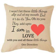 One Direction Lyrics Cushion Wedding Anniversary Gift Valentines Day Gift Christmas Love Harry Styles Zayne Malik Louis Tomlinson Niall Horan Liam Payne Little Things