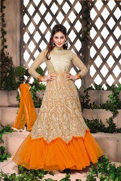 Pooja Gupta Suit -Beige and Orange Net Anarkali Suit #clearance #sale @ http://zohraa.com/shop/express-ship.html #celebrity #zohraa #onlineshop #womensfashion #womenswear #bollywood #look #diva #party #shopping #online #beautiful #beauty #glam #shoppingonline #styles #stylish #model #fashionista #women #lifestyle #fashion