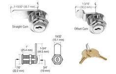 CRL Chrome Cam Lock - Keyed Alike by CR Laurence by CR Laurence. $3.98. Easy To Install Available in Several Finishes Comes With Both Straight and Offset Cams CRL's Cam Lock is an easy-to-install lock is used for hinged doors. It is installed in CRL Extrusion numbers D626, D644 or D673 for glass or mirrored hinged doors. Requires a 3/4 inch (19 millimeter) diameter hole for installation.One package consists of: One lock, straight and offset cam plus two keys.