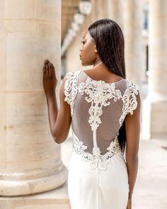 Robe de mariée - dos dentelle de la créatrice de luxe Veronika Jeanvie Paris