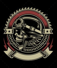 Buy Vintage Biker Skull Emblem by vectorfreak on GraphicRiver. fully editable vector illustration (editable EPS) of biker skull emblem isolated on black background, image suitable . Biker Tattoos, Skull Tattoos, Motorcycle Art, Bike Art, Art Harley Davidson, Dessin Old School, Retro, Vintage Biker, 3d Cnc