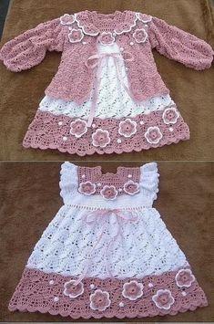 Crochet Baby Dress Pattern, Baby Sweater Knitting Pattern, Baby Girl Crochet, Crochet Baby Clothes, Baby Knitting Patterns, Baby Clothes Patterns, Baby Patterns, Crochet Fashion, Little Girl Dresses