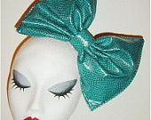 Giant Teal snakeskin animal print PVC latex hair bow
