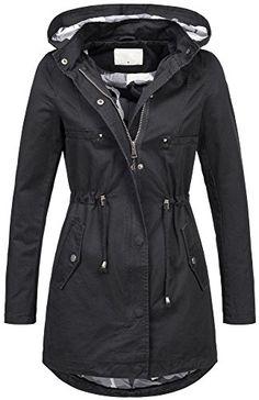 Leichte Damen Jacke Übergangsjacke mit Kapuze Mantel Parka Baumwolle S-XL  B495  B495- 8fd6d5ea44