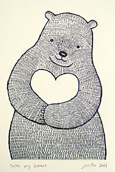 Bear Heart Print of Original Ink Drawing Woodland door mikaart, $7.99