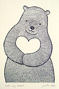 Bear Heart Print of Original Ink Drawing Woodland by mikaart, $7.99