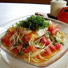 おろしトマトの冷製パスタ