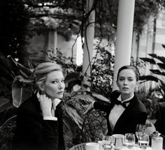 Cate Blanchett and Emily Blunt dressed to the nines in an IWC campaign. Tuxedos - men's suitings.