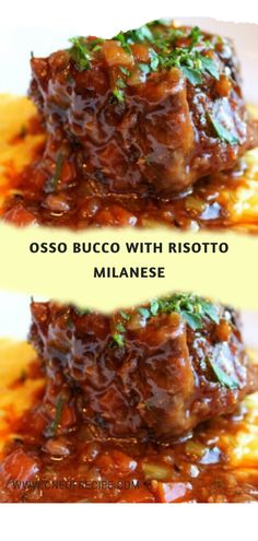 Osso Bucco met Risotto Milanese - een recept - Recipes You must try! Oso Bucco Recipe, Veal Osso Bucco, Beef Shank Recipe, Veal Recipes, Slow Cooker Recipes, Cooking Recipes, Milanese Recipe, Risotto Milanese, Recipes
