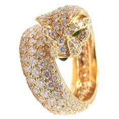 1stdibs | CARTIER Panther Diamond Emerald Onyx Yellow Gold  Ring