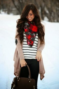 Plaid Scarf to pull in that cute outfit and beautiful brunette hair!