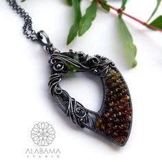 Spring leaf  unique OOAK oxidised silver pendant by AlabamaStudio, zł830.00