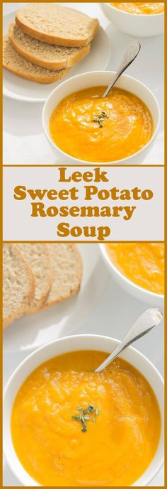 This leek, sweet potato and rosemary soup is addictive. The combination of flavours marinates together perfectly creating such a delicious creamy comfort soup. Not only that, it's really simple and qu (Chicken Stew Sweet Potato) Vegetarian Recipes, Cooking Recipes, Healthy Recipes, Vegetarian Dinners, Veggie Soup Recipes, Vitamix Recipes, Cooking Games, Free Recipes, Soups And Stews