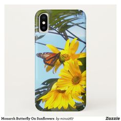 Monarch Butterfly On Sunflowers Case-Mate iPhone Case Sunflower Gifts, Yellow Sunflower, Ipod Touch Cases, Unique Iphone Cases, Monarch Butterfly, Floral Style, Artwork Design, Flower Designs, Unique Gifts