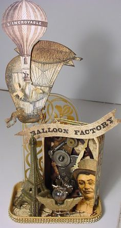 Steampunk Balloon Factory out of an Altiod tin. Awesome! Trash to Treasure art blogspot.