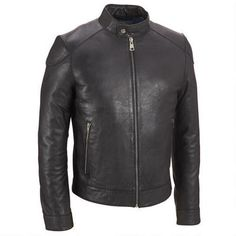 Wilsons Leather Front Zip Leather Jacket w/ Gunmetal Hardware - v2