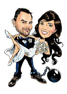 Caricature for a wedding signature board