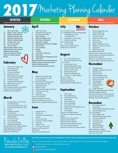 2017 Marketing Planning Calendar