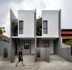 Minimal House Design, Minimal Home, Small House Design, Narrow House Designs, Facade Design, Exterior Design, Architecture Design, Chinese Architecture, Architecture Office