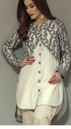 Women jacket over women traditional suit Long jacket over suit Pakistani Fashion Casual, Pakistani Dresses Casual, Pakistani Dress Design, Casual Dresses, Sleeves Designs For Dresses, Dress Neck Designs, Stylish Dress Designs, Frock Fashion, Women's Fashion Dresses