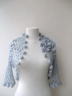Shrug bolero jacket with flower broochlight grey by KnitAndWedding, $79.00
