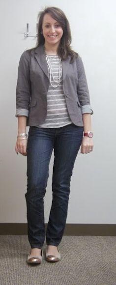 striped shirt, gray blazer, skinny jeans, flats with sparkle/shine