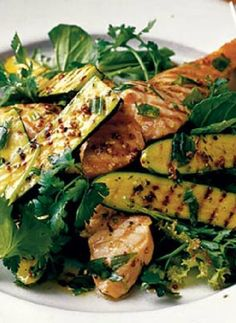 Low FODMAP and Gluten Free Recipe of the day - Warm salad of chargrilled zucchini & salmon (update) http://www.ibssano.com/low_fodmap_recipe_salad_zucchini_salmon.html