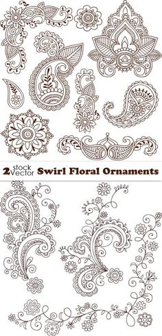 Floral patterns and ornaments - vector.  Swirl Floral Ornaments