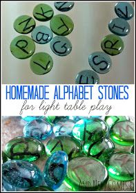 Homemade alphabet stones for light table play from And Next Comes L- I'm thinking mod podge over the letters and numbers to seal them- also vowels different color ink, and uppercase 1 color stone, lowercase another color- plus punctuation