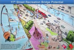 An artist rendering of how one of the old 11th Street Bridges could be re-purposed for recreation. For more details: http://www.thewashcycle.com/2012/03/11th-street-recreation-bridge.html