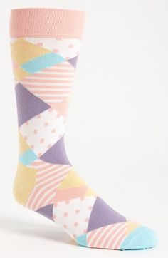 This is a weird print for men's socks but I like it. The pastels would be nice for easter or a wedding Ugly Socks, Men's Socks, Crazy Socks, Cool Socks, Fashion Socks, Mens Fashion, Sock Tie, Wedding Socks, Sock Crafts