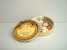 Vintage pipe tobacco round metal box 1950s by DelicateRetro, $14.00