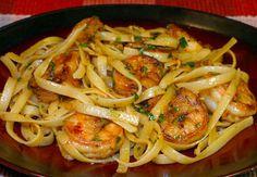 Lemon Garlic Shrimp with Fettuccine