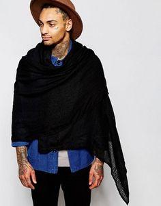 ASOS Laddered Blanket Scarf In Black