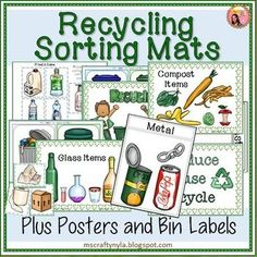Recycling Activities for sorting pictures of different kids of trash into the following categories for recycling: compost, metal, glass, plastic, and paper. $ #Earthday #recycling