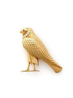 Cartier Gold, Diamond, & Ruby Falcon Brooch