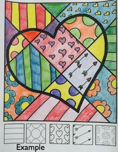 """FREE """"Pop Art"""" heart lesson from Art with Jenny K. Great Valentine's Day art activity for kids! Super cool craft idea for use in the classroom or at home."""