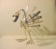 Silverware Metal Turkey Art Sculpture by R. Wagner