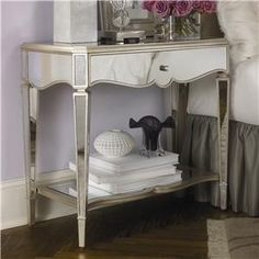 Jessica McClintock Couture Mirrored Nightstand in Silver Leaf by American Drew want this for my room! Mirrored Furniture, Bedroom Furniture, Home Furniture, Bedroom Decor, Master Bedroom, Bedroom Ideas, Bedroom Inspiration, Master Suite, Furniture Ideas