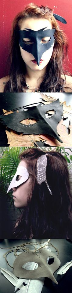 DIY COSTUMES   MASKS :: I just love these amazing handmade Barn Owl & Crow Priestess masks by Anathemum. :: You can buy them or recreate the look by cutting the leather, punching some holes with an awl and using two pieces of twine or ribbon or a single piece of elastic to keep it attached to your head.    #masks
