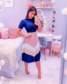 Pink, white and blue outfit - ChicLadies. Cute Skirt Outfits, Cute Skirts, Pretty Outfits, Teen Fashion Outfits, Modest Fashion, Girl Outfits, Fashion Dresses, Church Outfit For Teens, Church Outfits