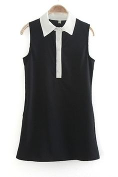 Black Contrast Color Collar Shift Dress