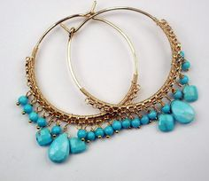 Sleeping Beauty Turquoise Beaded Gold Filled Hoop Earrings Wire Wrapped Gemstone Luxury Spring Fashion. $138.00, via Etsy.
