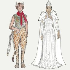 First preview for The Lion, the Witch and the Wardrobe this afternoon! Here's an inside look at some of the whimsical costume sketches. Pictured here: Mr. Tumnus and the White Witch. Designs by Dana Osborne.